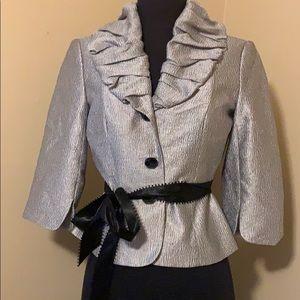 EUC Size 4P Silver Adrianna Papell Jacket